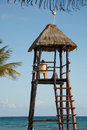 Lifeguard in his tower Stock Images