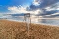 Lifeguard metal chair on an empty beach Stock Photography