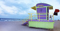 Lifeguard post colorful and cabin in miami beach Royalty Free Stock Image