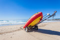 Lifeguard Rescue inflatable Boat Beach Royalty Free Stock Photo