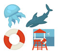 Lifeguard or sea guard vector icons shark, rescuer tower, lifebuoy and jellyfish
