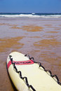 Rescue surfboard on the beach