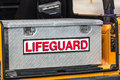 Lifeguard toolbox san clemente vehicle Royalty Free Stock Photo