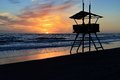 Lifeguard tower beautiful photo taken at sunset on a coast of lazio Royalty Free Stock Photos