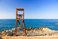 Lifeguard tower in crete greece Royalty Free Stock Photos