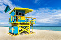 Lifeguard tower miami beach florida colorful in south usa Stock Photography