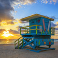 Lifeguard tower at sunrise Royalty Free Stock Photo