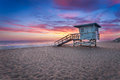 Lifeguard Tower at Sunset Royalty Free Stock Photo