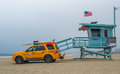 Lifeguard venice beach watchtower with car and saving equipment ready Stock Photography