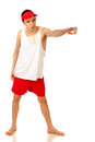 Lifeguard young adult male studio shot over white Royalty Free Stock Photo