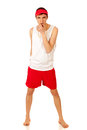 Lifeguard young adult male studio shot over white Royalty Free Stock Photography