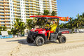 Lifeguards driving a beach buggy in miami beach usa july return at pm on july usa patrol became existing since that time the ocean Royalty Free Stock Photography