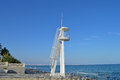 A lifeguards lookout tower used in the summer by the local spanish Royalty Free Stock Image