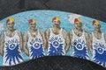 Lifeguards mosaic bench in bondi beach sydney australia Royalty Free Stock Photo