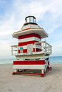Lifeguards outpost tower in south beach miami florida Stock Photo