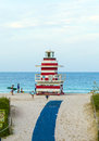 Lifeguards outpost tower in south beach miami july people relax area july florida this area was the first section of to be Royalty Free Stock Photography