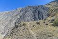 Lifeless clay slope with traces of soil erosion cape meganom crimea Royalty Free Stock Photos