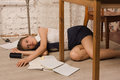 Lifeless college girl on a floor crime scene simulation body of the Stock Photo
