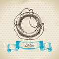 Lifeline hand drawn retro illustration Stock Images