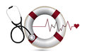 Lifeline and lifebuoy with a stethoscope illustration design over white Royalty Free Stock Image