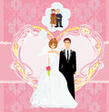 Lifelong love happy wedding couple illustration Royalty Free Stock Photography