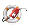 Lifesaver with a gas pump nozzle illustration design over white background Royalty Free Stock Photo