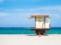 Lifesaver hut at fort lauderdale beach in florida on a summer day Stock Image