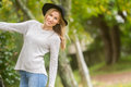 Lifestile outdoor portrait of young beautiful woman on natural b Royalty Free Stock Photo