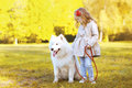 Lifestyle autumn photo, little girl and Samoyed dog walking in t Royalty Free Stock Photo