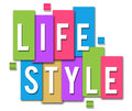 Lifestyle colourful stripes text in white over background blocks Stock Images