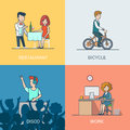 Lifestyle linear flat icons site click banner desi