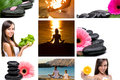 Lifestyle montage yoga wellnes spa healthy in one picture Stock Images