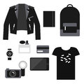 Lifestyle set: total black trendy clothes. Unisex casual outfit.