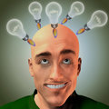 Lift off lightbulbs in form of rocket above mans head Stock Images