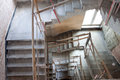 Lift shaft construction of a with staircase bird eye view Stock Photos
