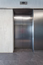 Lift silver door in a business centre Stock Photo