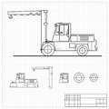 Lift truck blueprint Royalty Free Stock Photo
