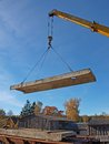 Lift up panel mobile crane the concrete construction Stock Photography