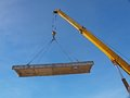 Lift up panel mobile crane the concrete construction Royalty Free Stock Images