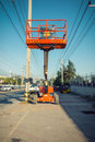 Lifting boom lift in construction site., Lifting equipment Royalty Free Stock Photo