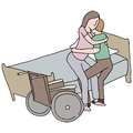 Lifting disabled woman an image of a man a Royalty Free Stock Photo