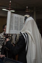 Lifting of the torah scroll during a prayer after reading Royalty Free Stock Image