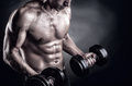 Lifting weights closeup of a muscular young man on dark background Royalty Free Stock Photo