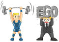 Lifting your ego is heavy two men are some weight one a weightlifting but another carrying his vector Royalty Free Stock Photography