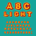Light ABC. Retro Alphabet with lamps. Glowing letters. font pointer with shine bulb. Vintage Glittering lights lettering