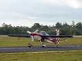 Light aerobatic airplane rpeparing for takeoff Royalty Free Stock Image