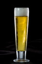 Light beer refreshing in a cold glass served on a dark bar Stock Photo