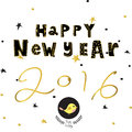 Light black yellow gold happy new year with star bird and wreath Royalty Free Stock Photo