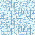Light blue abstract urban seamless pattern. Landscape with city blocks. Vector background.