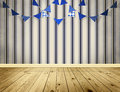Light blue background with blue pennants festoon Stock Photo